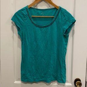 Ann Taylor Loft aqua tshirt with beaded trim